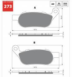 Тормозные колодки Gold Fren S3 273 задние Harley Davidson Dyna / Softail 08- / FA458
